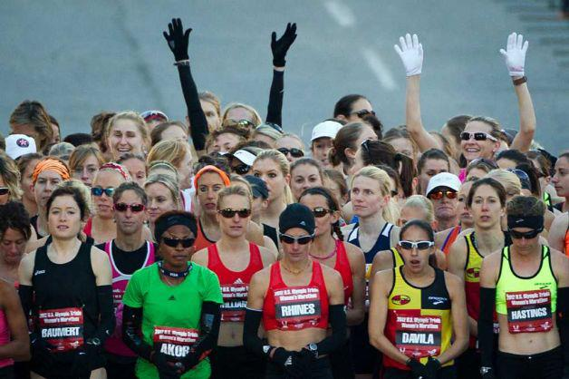 That's me on the far left, at the start of the 2012 Olympic Marathon Trials in Houston, Texas. I'm somewhat - no, very - embarrassed that I ended up at the front of this starting line. I was nervous. I was naive. I finished way behind all the women standing around me.
