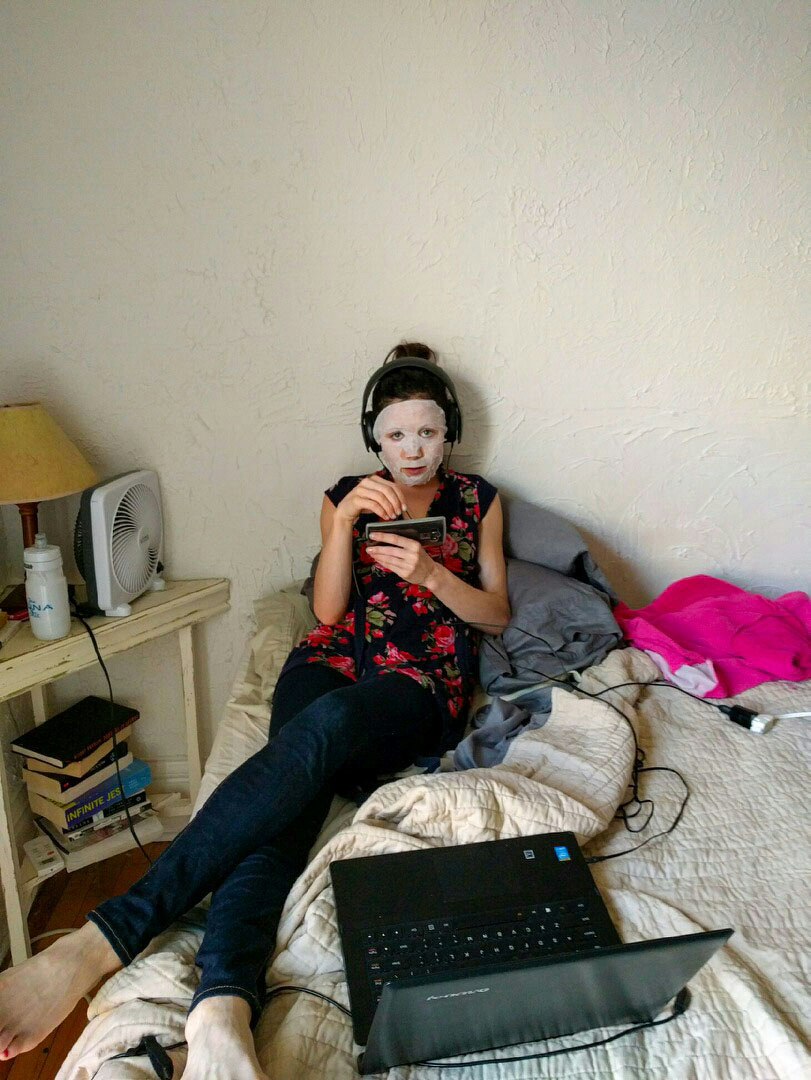 This is me, not running. I'm watching KUWTK, playing solitaire, staying hydrated, not reading Infinite Jest, wearing a Korean sheet mask (they deserve a post unto themselves) and scowling at my husband for taking this picture.